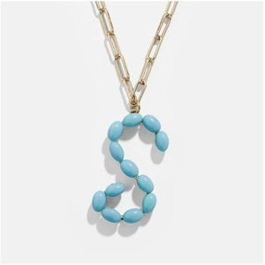 "Blue Letter ""S"" Initial Paper Clip Style Necklace"